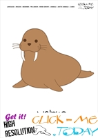 Printable Arctic Animal Walrus wall card - Walrus flashcard