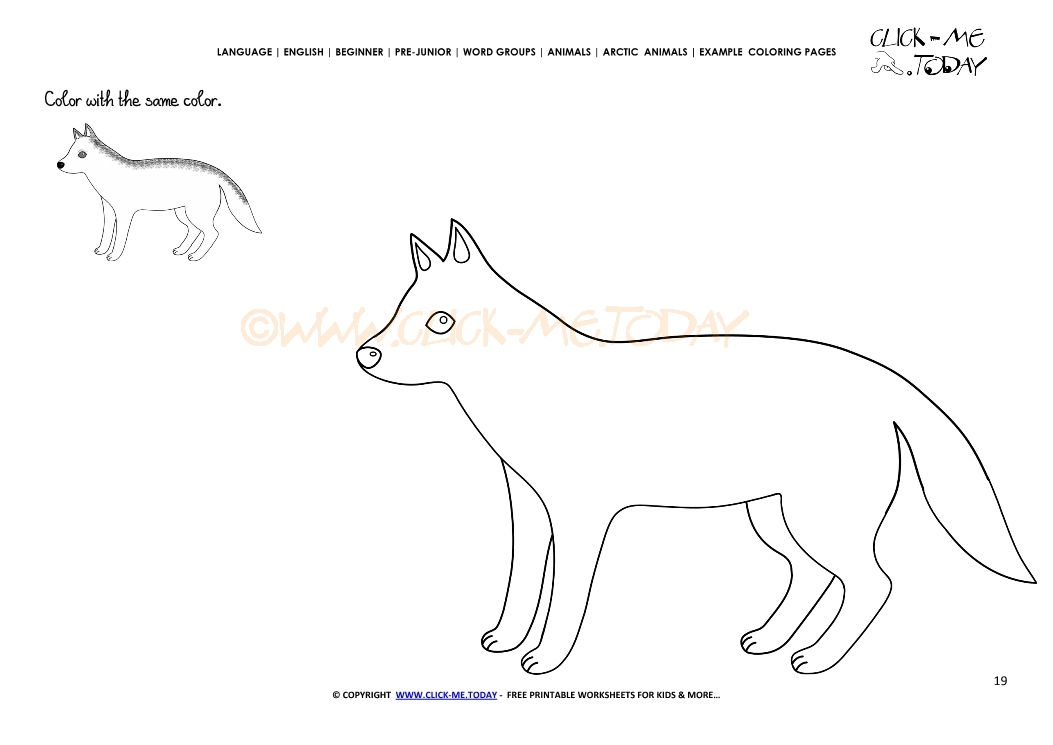 Example coloring page Arctic Wolf - Color picture of Wolf