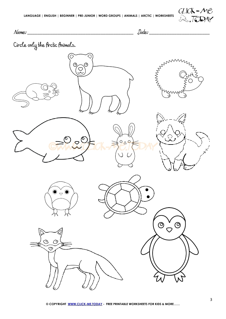 Printable Worksheets animals printable worksheets : Animals Worksheet - Activity sheet Circle 1