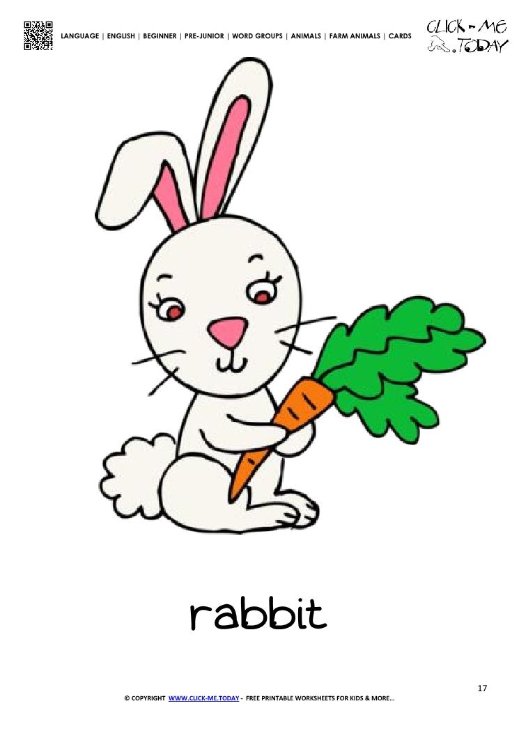 Farm animal flashcard Rabbit with carrot - Printable card