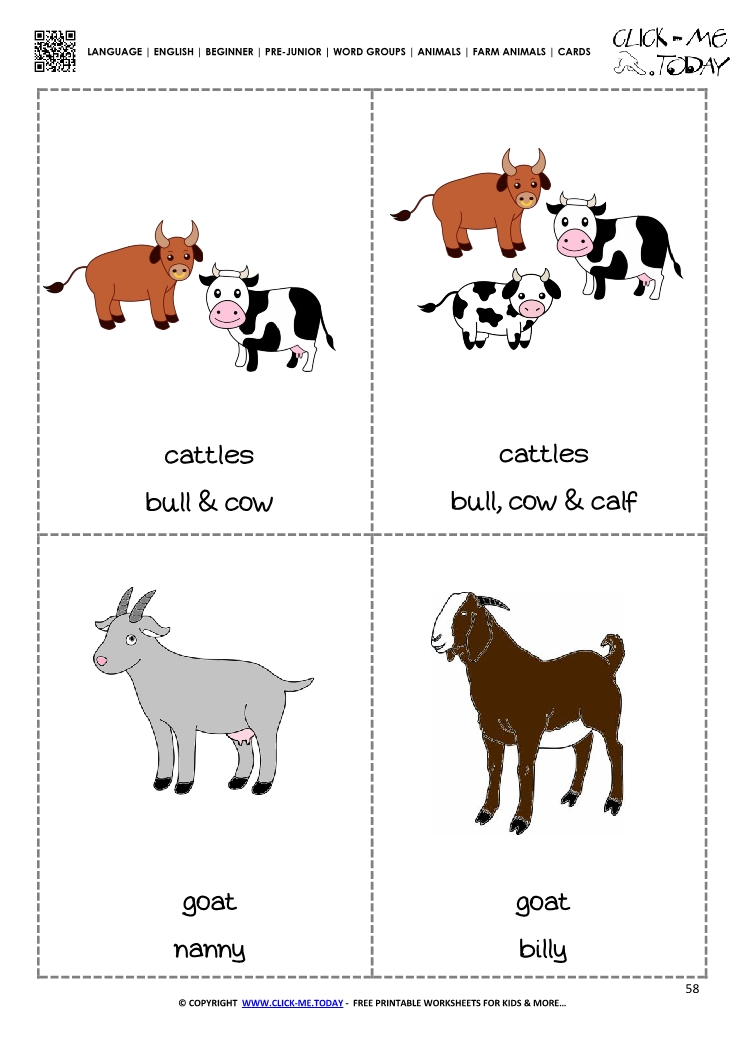 Farm animals Classroom cards 7 - Cattles & Goats