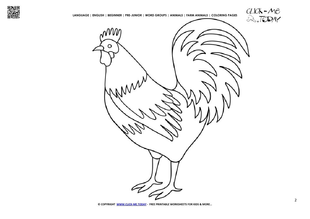 Rooster Coloring Page - Democraciaejustica