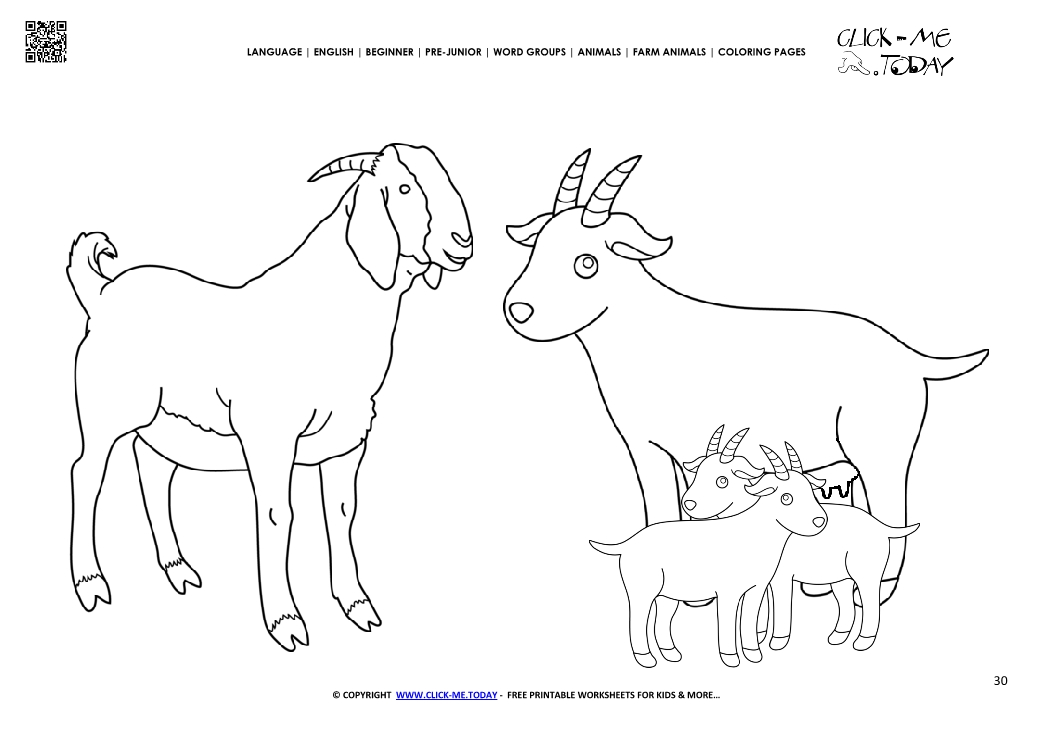 Coloring Page Goat Family Kids