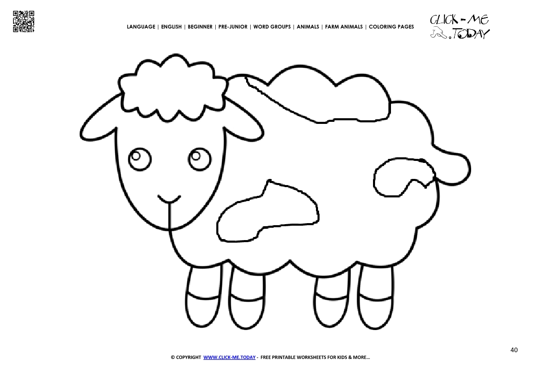 Coloring page cute Sheep Lamb - Color picture of Sheep