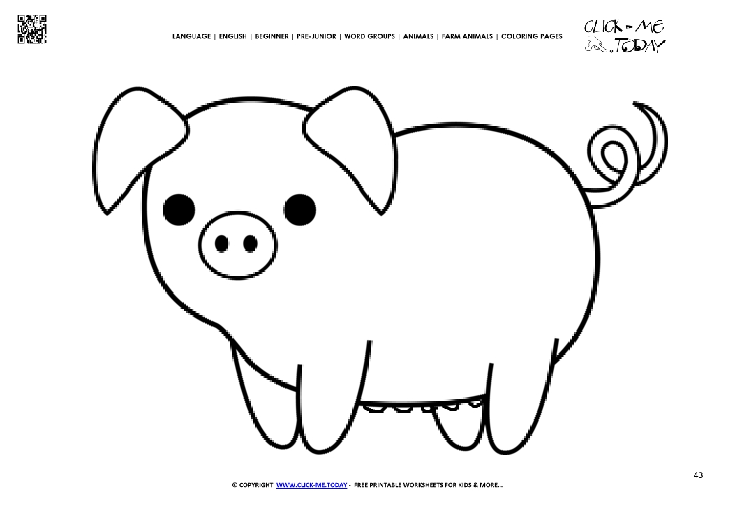 Coloring page cute Pig Sow - Color picture of Pig