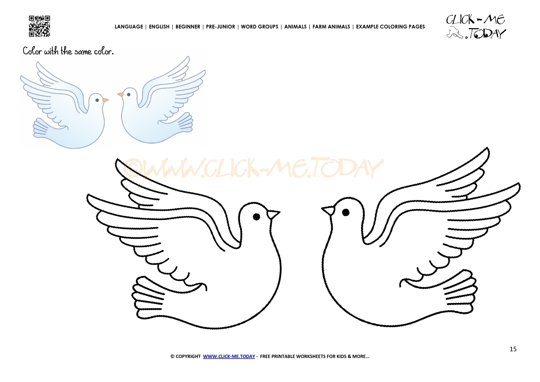 Example coloring page Doves - Color picture of Doves
