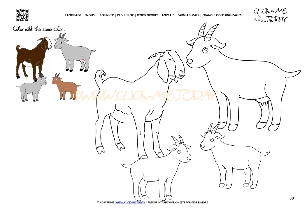 example coloring page goat family kids color picture of goats