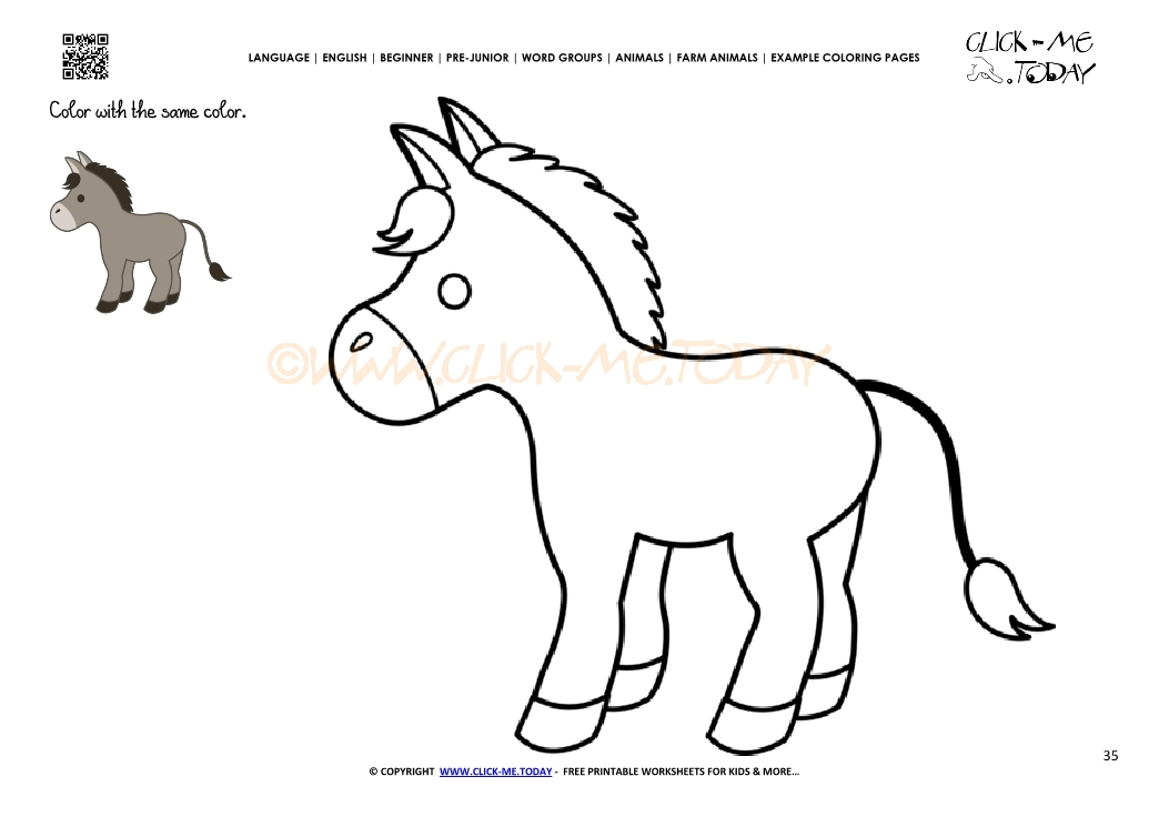 Example coloring page Donkey Jackass- Color picture of Donkey