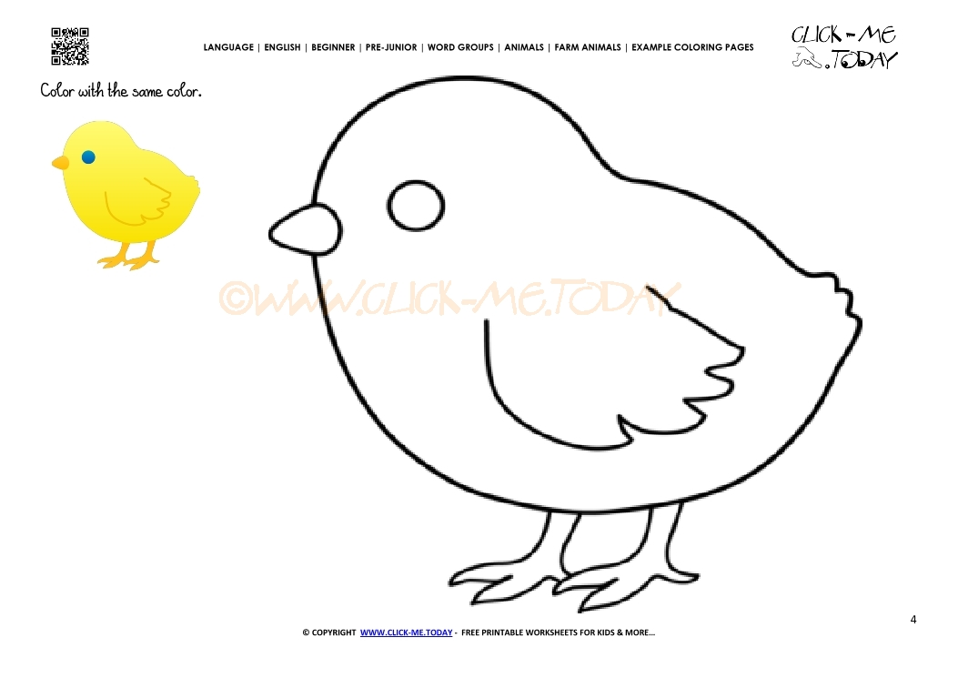 Example coloring page Chicken - Color picture of Chicken
