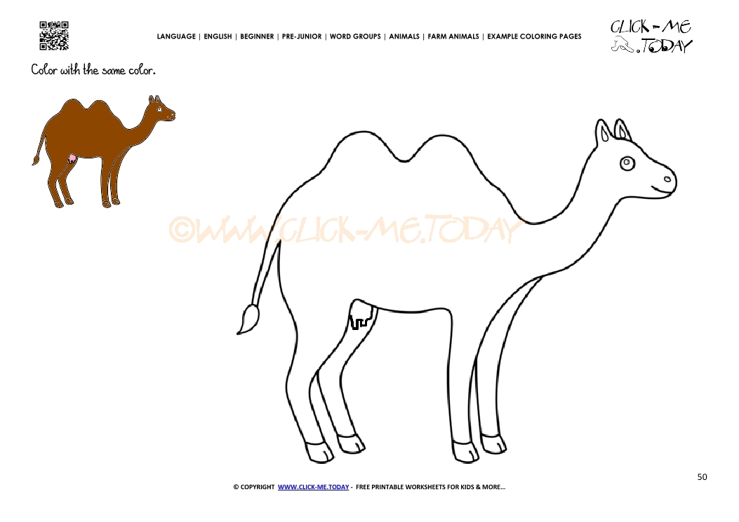 Example coloring page Cow Camel - Color picture of Camel