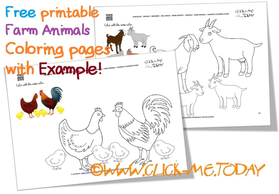 Free Printable Farm Animals Example Coloring Pages - Sample color