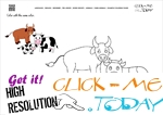 Example Coloring page Cow family - Color picture of Cows