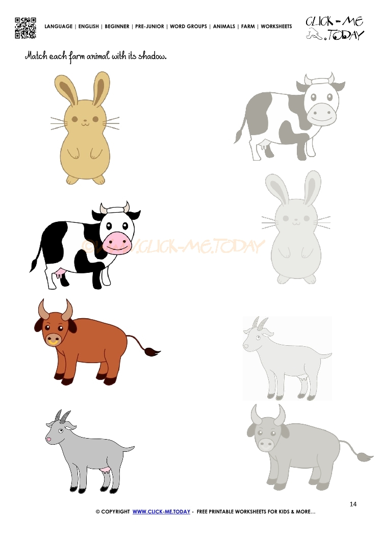 Farm Animals Worksheet Activity Sheet 14