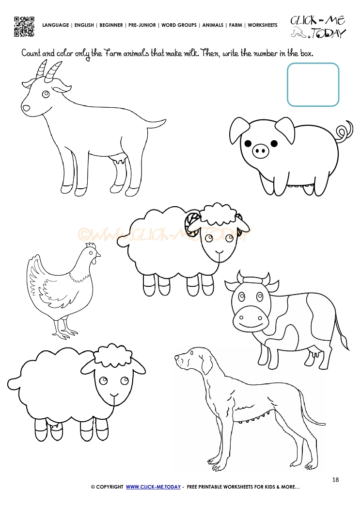 Farm Animals Worksheet Activity Sheet 18 – Farm Worksheets