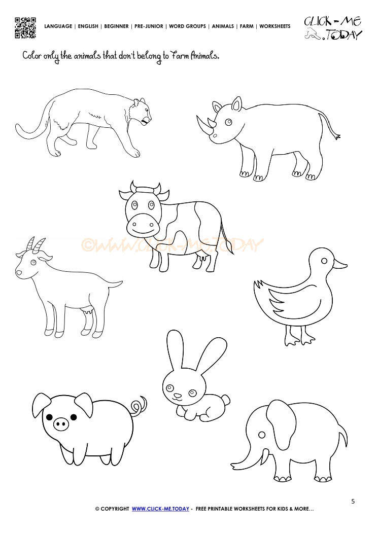 Farmer worksheets kindergarten free printable farm for Free printable coloring pages farm animals
