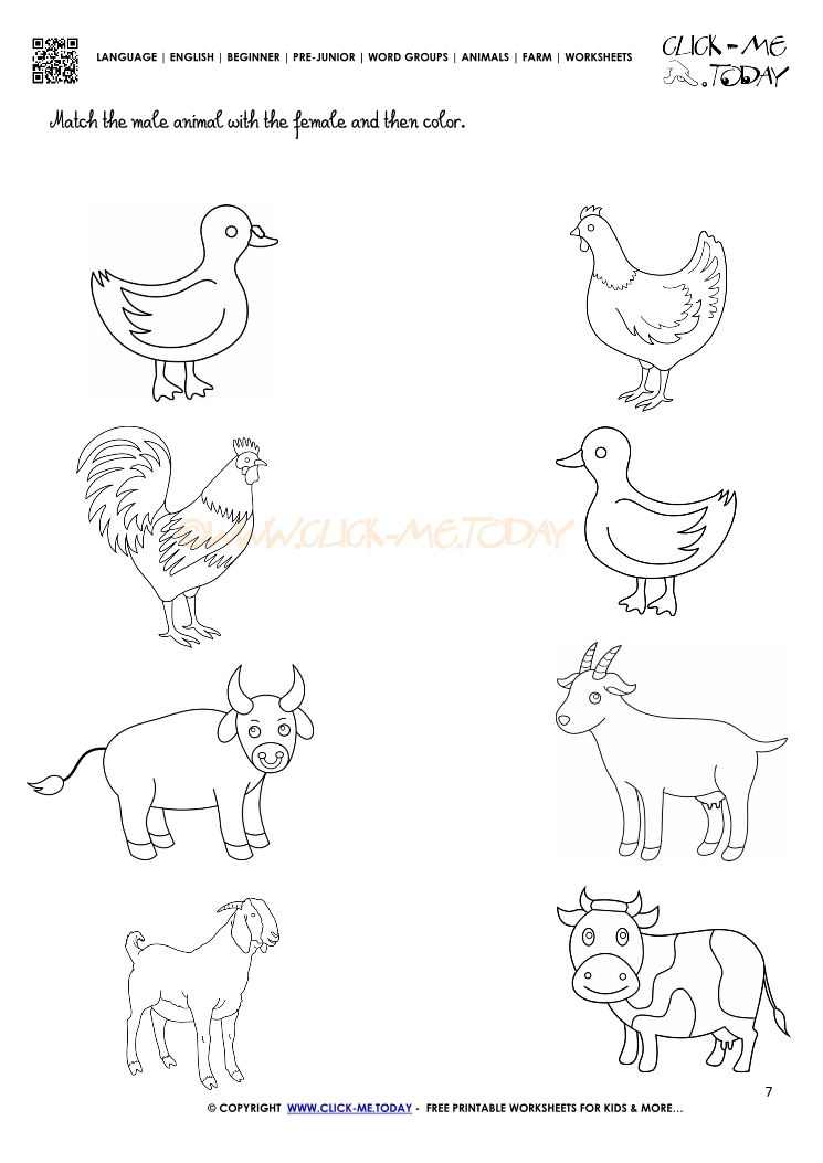 Farm Animals Worksheet Activity Sheet 7