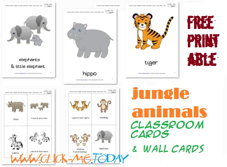 image relating to Animal Cards Printable identified as Free of charge Printable Jungle Pets Flashcards - Jungle Pets playing cards