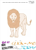Jungle animal flashcard Male Lion- Printable card of Male Lion