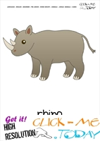 Jungle animal flashcard Rhino - Printable card of Rhino