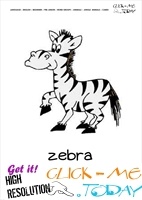 Jungle animal flashcard Zebra - Printable card of Zebra
