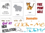 Free Printable Jungle Animals Flashcards - Jungle Animals cards