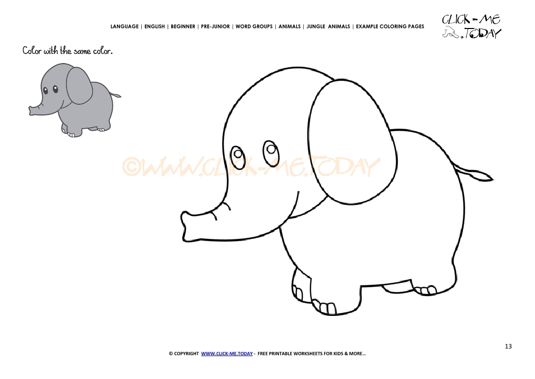 Example coloring page Little Elephant - Color picture of Elephant