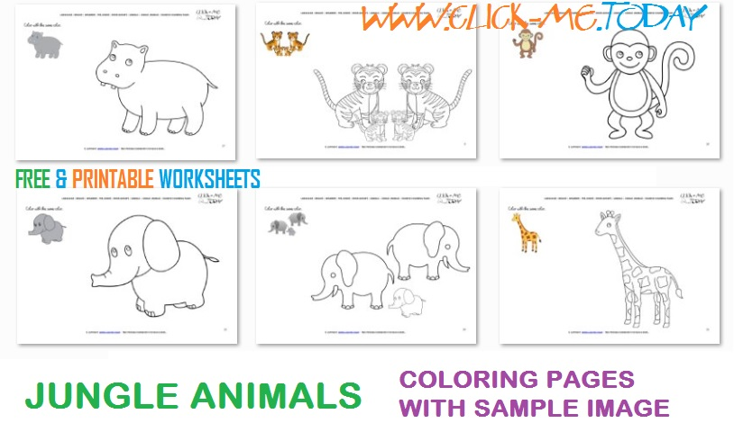 Printable Jungle Animals Example Coloring Pages - Sample color