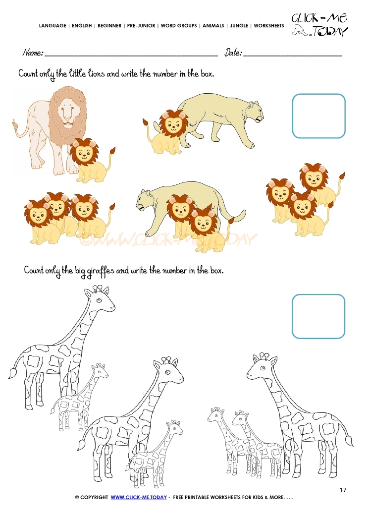 Jungle Animals Worksheet Activity Sheet Count 17