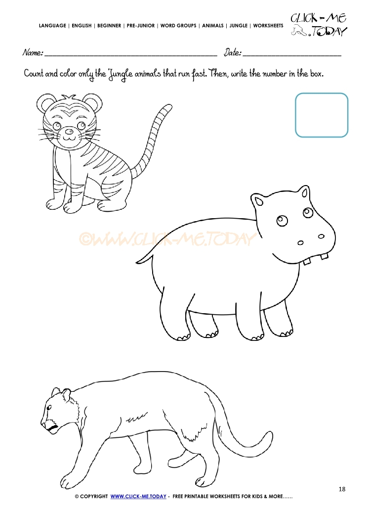 Jungle Animals Worksheet Activity Sheet Count 18