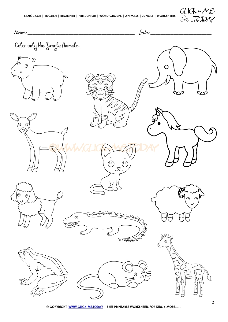 Printable Worksheets animals printable worksheets : Animals Worksheet - Activity sheet Color 2