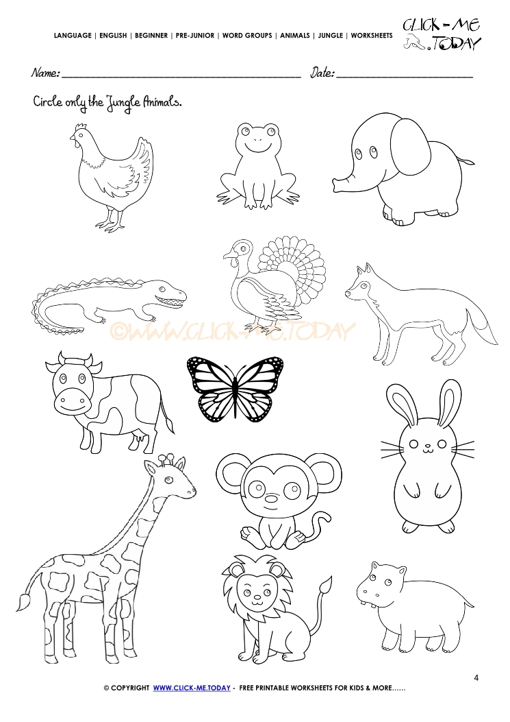 1623 Jungle Animals Worksheet Activity Sheet Circle 4 on Spanish Word For Pets
