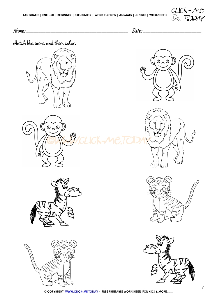 Printable Animal Worksheets : Jungle animals worksheet activity sheet match