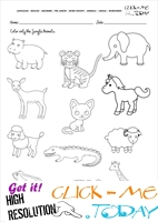 Jungle Animals Worksheet - Activity sheet Color 2
