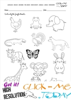 Jungle Animals Worksheet - Activity sheet Circle 4