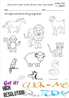 Jungle Animals Worksheet - Activity sheet Color 5