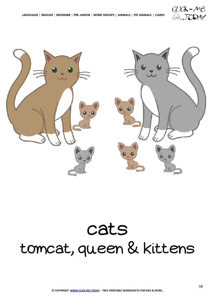 Printable Pet Animal Cat family