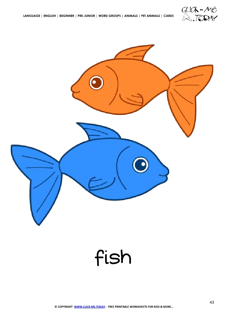 printable pet animal two fish wall card