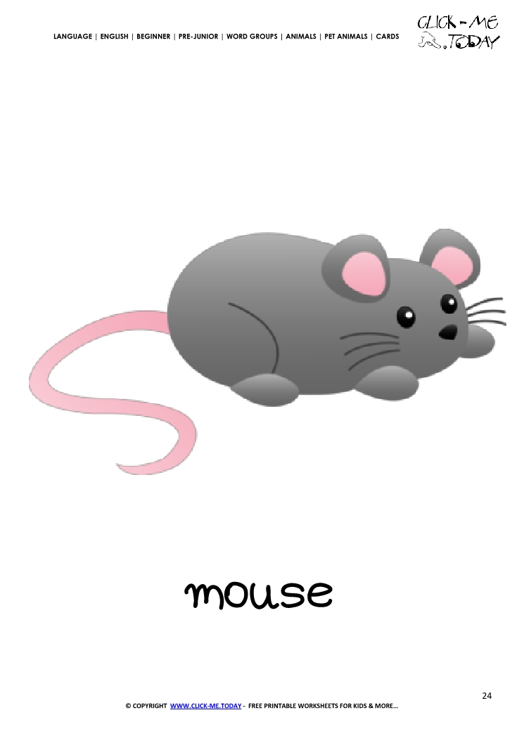 Printable Pet Animal Mouse wall card - Mouse flashcard