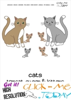Printable Pet Animal Cat family wall card - Cats flashcard