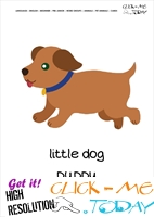 Printable Pet Animal Puppy wall card - Puppy flashcard