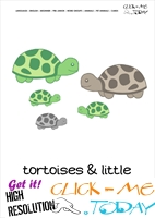 Printable Pet Animal Tortoise family wall card - Tortoises flashcard