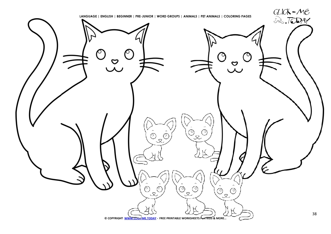 coloring page cats color picture of cat family
