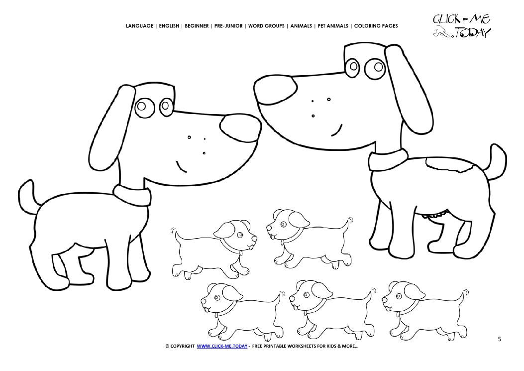 coloring page dogs color picture of dog family