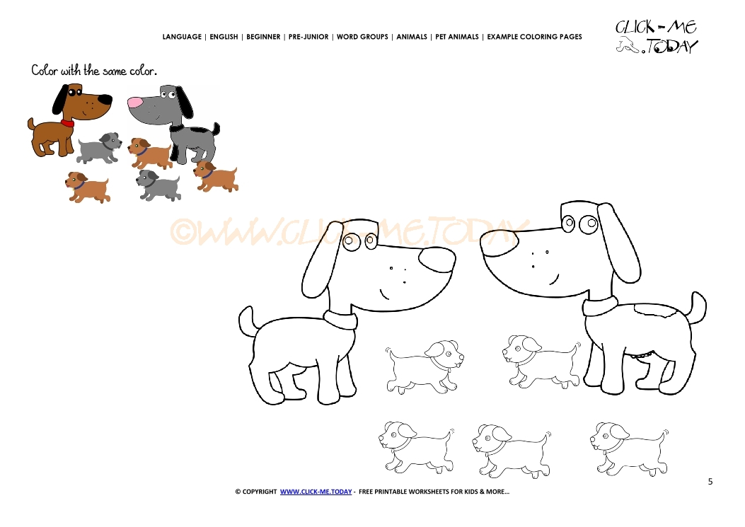 Example Coloring Page Dog Family Color Dog Family Picture