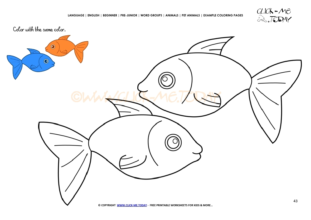 example coloring page two fish color fish picture