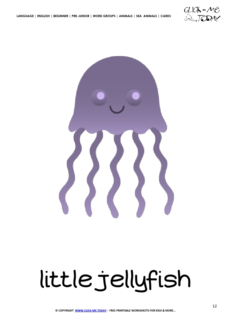 Sea Animal Flashcard Little Jellyfish Printable Card Of