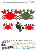 Sea animal flashcard Crabs - Printable card of Crabs