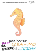 Sea animal flashcard Sea horse - Printable card of Sea horse