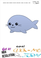 Sea animal flashcard Seal - Printable card of Seal