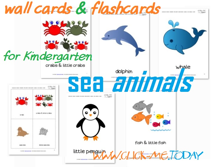 Free Printable Sea Animals Flashcards - Sea Animals Wall Cards